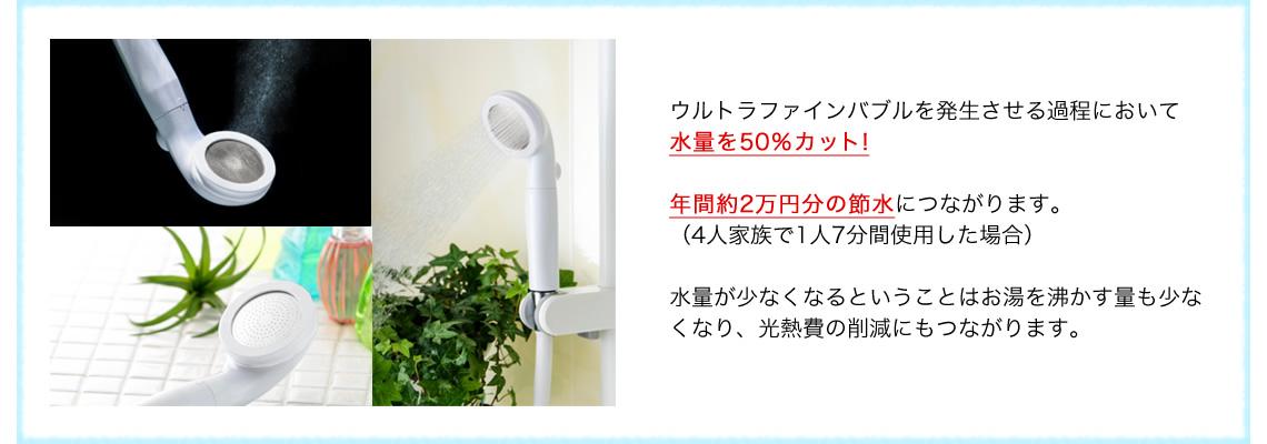 ウルトラファインバブルで節水率50%!1年間で2万円の節水になります