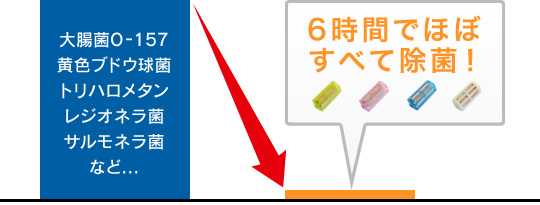 病原性大腸菌O-157・黄色ブドウ球菌・発がん物質トリハロメタン・レジオネラ菌・サルモネラ菌などを6時間でほぼ0%に除菌するCuWater携帯浄水器付き