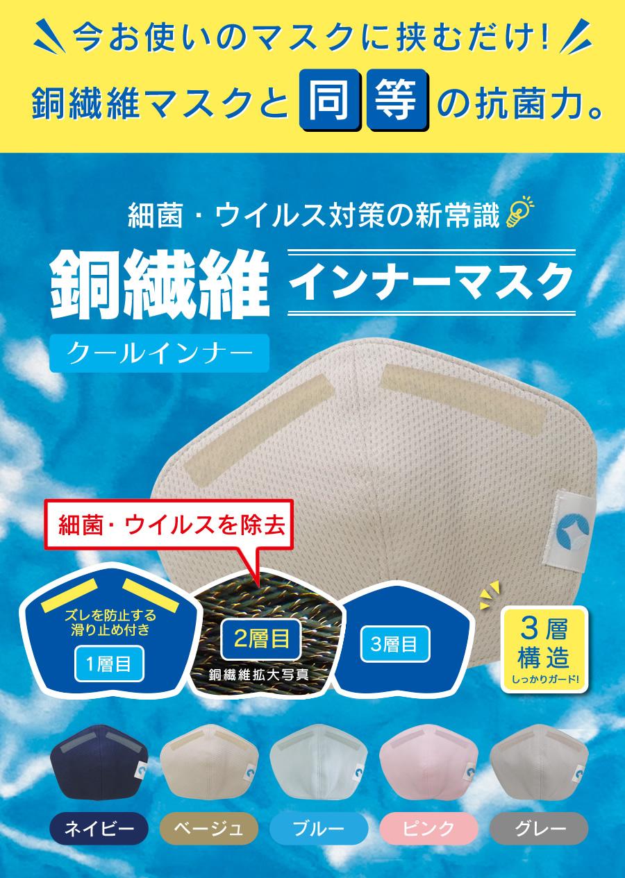 インフルエンザや花粉症など感染予防に効果的な【クールインナー】銅繊維インナーマスク